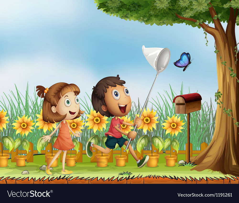 Children trying to catch a butterfly vector | Price: 1 Credit (USD $1)
