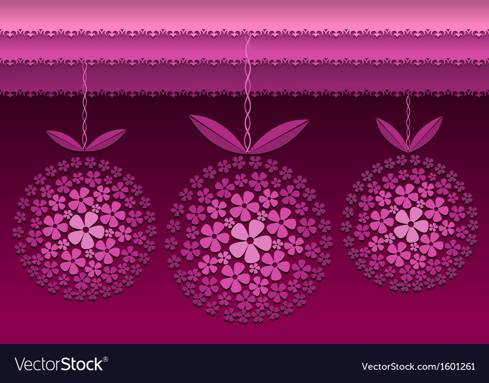 Decorative card with floral hanged circles vector | Price: 1 Credit (USD $1)