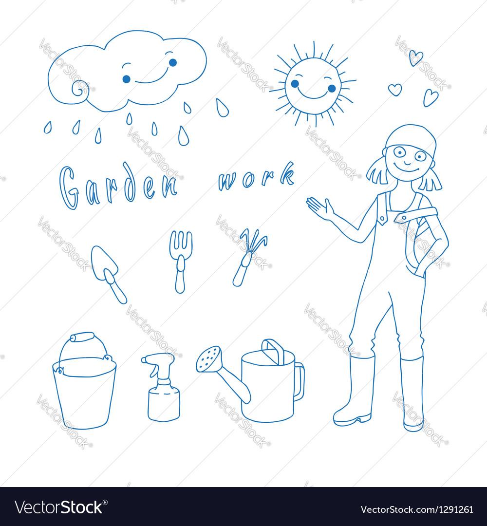Garden work vector | Price: 1 Credit (USD $1)