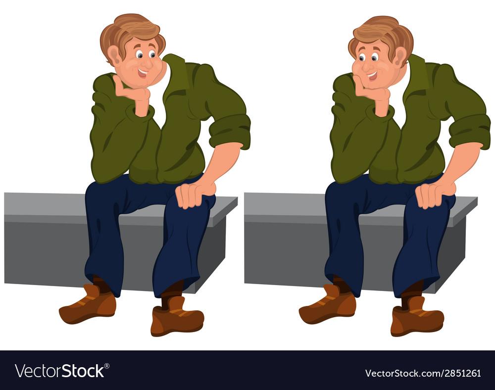 Happy cartoon man sitting on gray bench vector | Price: 1 Credit (USD $1)
