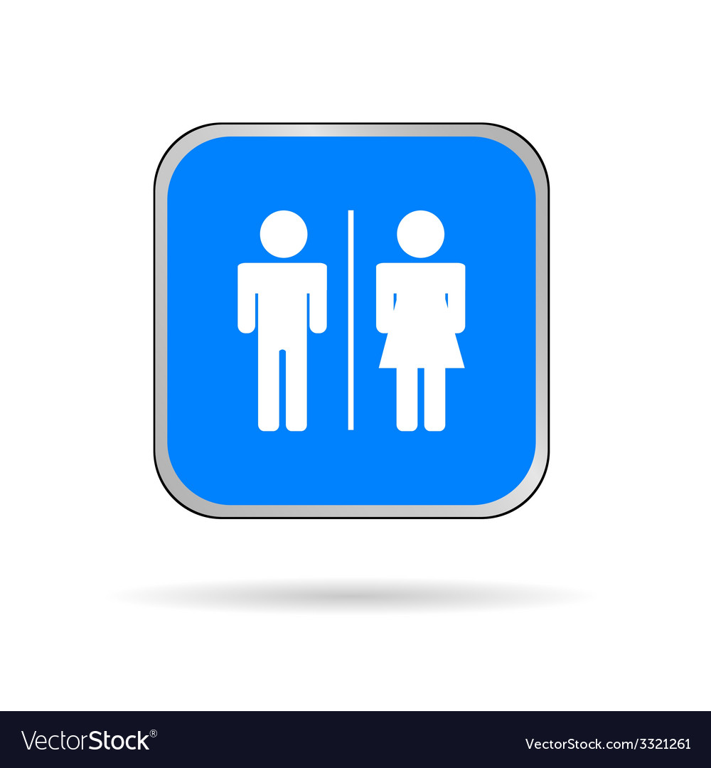 Man and woman icon blue and white silhouette vector | Price: 1 Credit (USD $1)