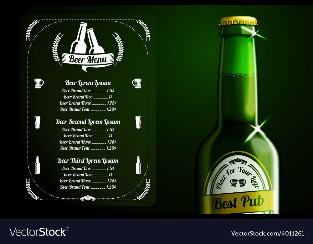 Menu template - beer and alcohol with place for vector | Price: 3 Credit (USD $3)