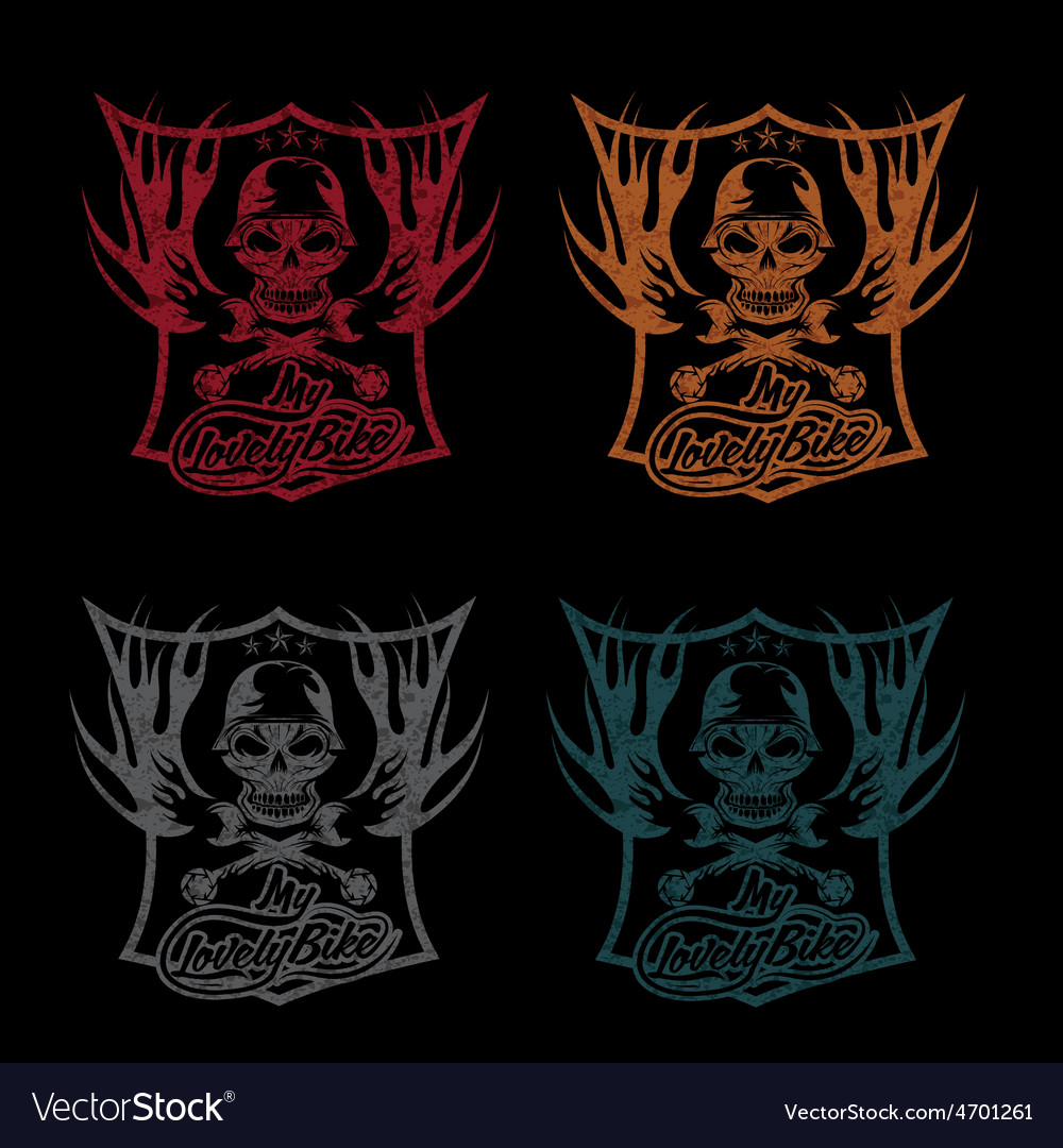 My lovely bike auto grunge crest with skull in vector | Price: 1 Credit (USD $1)