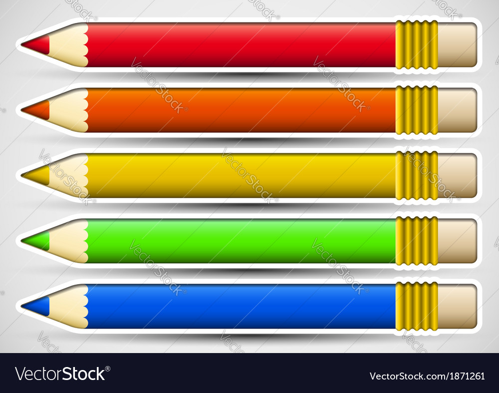 Pack of colorful pencils with white frame vector | Price: 1 Credit (USD $1)