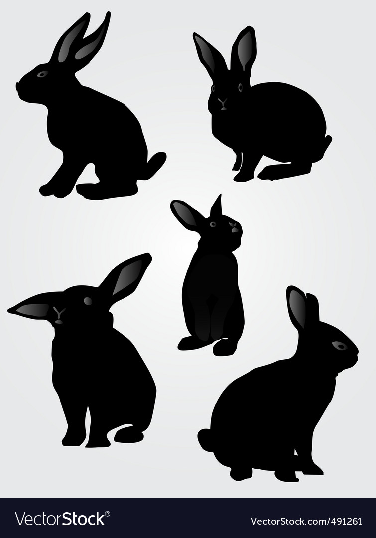 Rabbit silhouettes vector | Price: 1 Credit (USD $1)