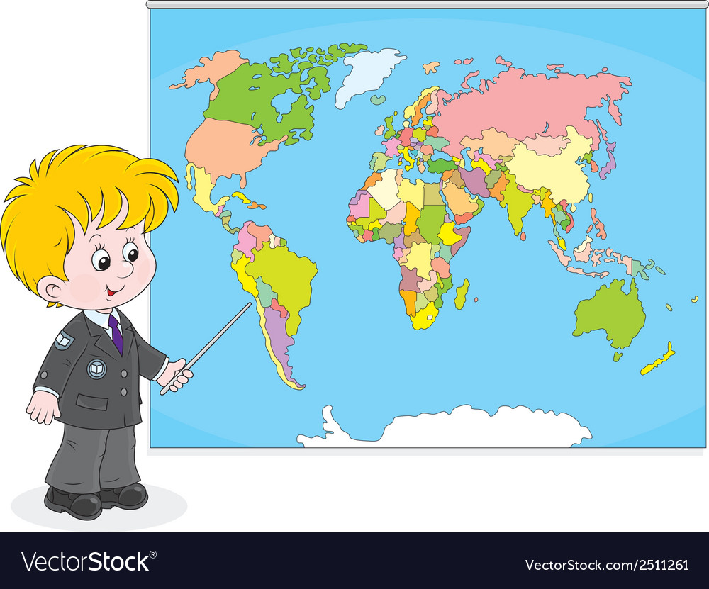 Schoolboy at a world map vector | Price: 1 Credit (USD $1)