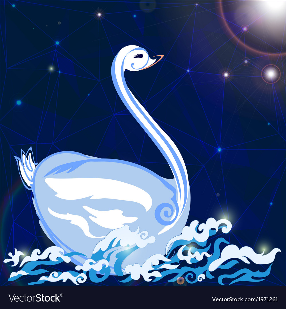 Swan floats on the waves vector | Price: 1 Credit (USD $1)
