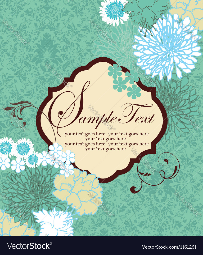 Vintage blue floral invitation card vector | Price: 1 Credit (USD $1)