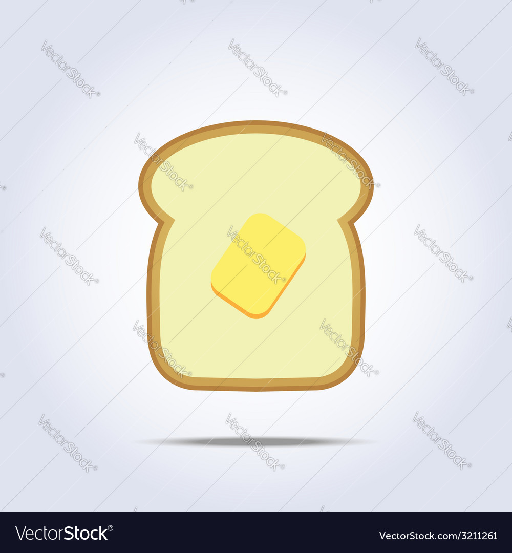 White bread toast icon with butter vector | Price: 1 Credit (USD $1)