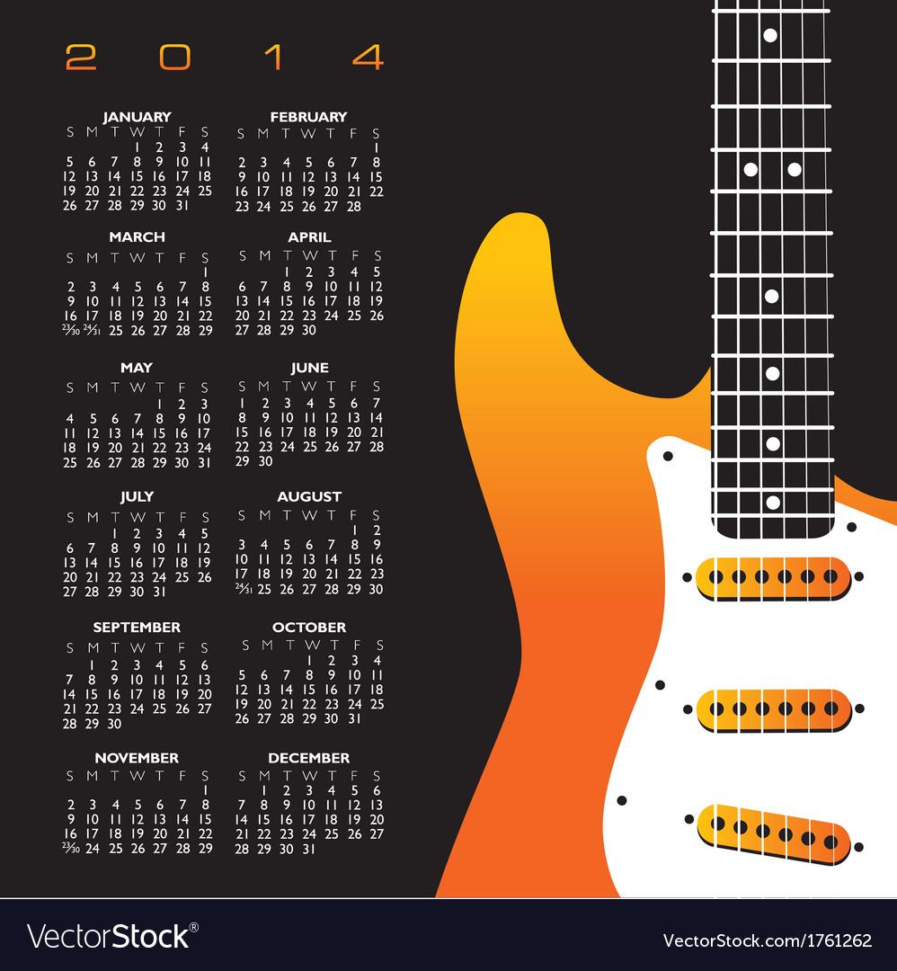 2014 yellow guitar calendar vector | Price: 1 Credit (USD $1)