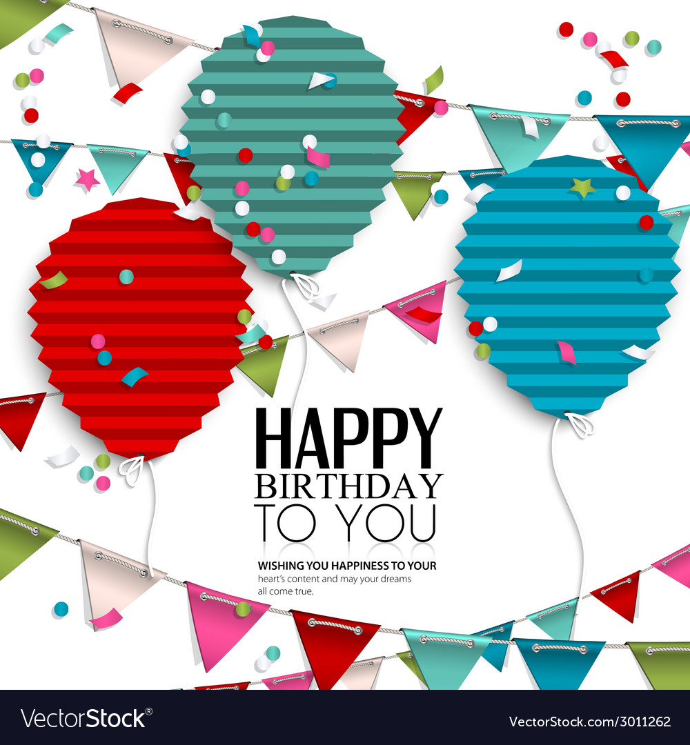 Birthday wish with bunting flags and balloons in vector | Price: 1 Credit (USD $1)