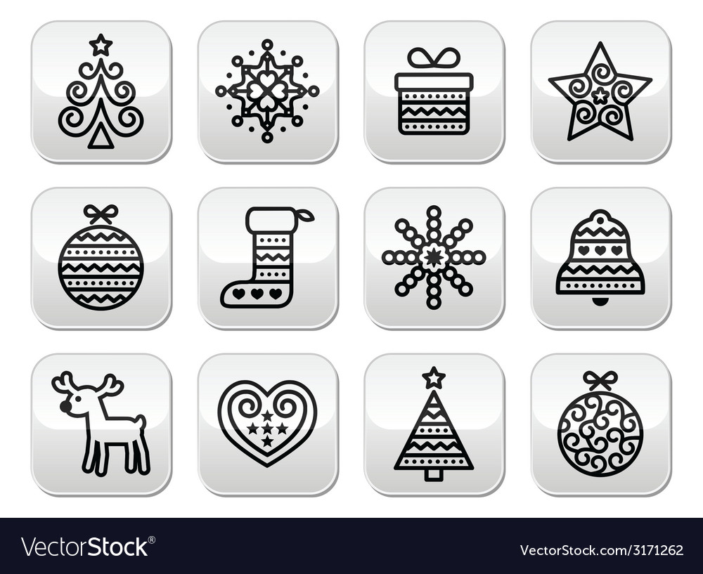 Christmas buttons with stroke - xmas tree present vector | Price: 1 Credit (USD $1)