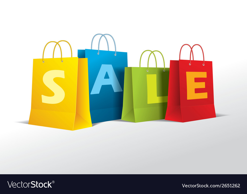 Colored paper bags on white vector   Price: 1 Credit (USD $1)