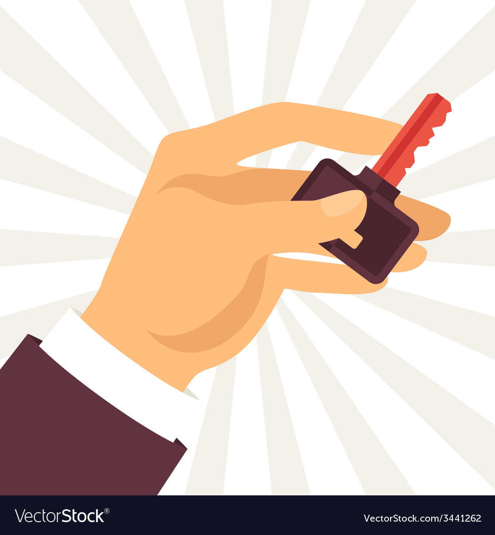 Hand holding key in flat design style vector   Price: 1 Credit (USD $1)