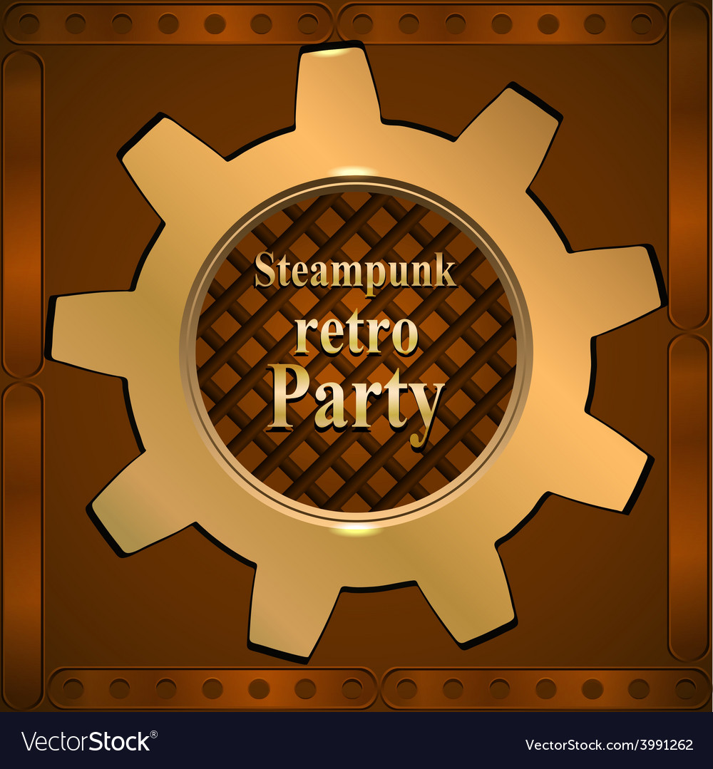Invitation flyer on retro steampunk party vector | Price: 1 Credit (USD $1)