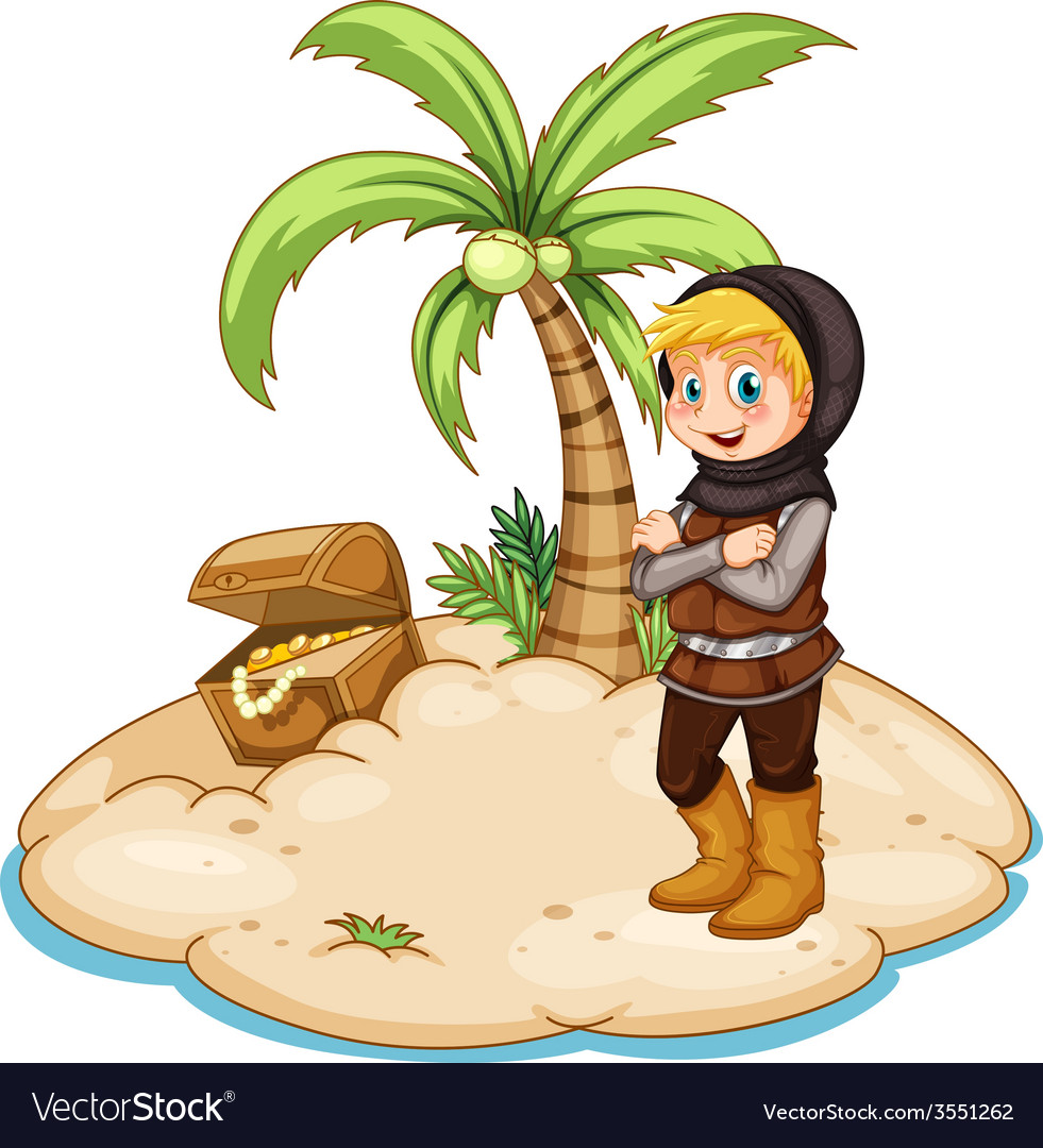 Knight and island vector | Price: 3 Credit (USD $3)