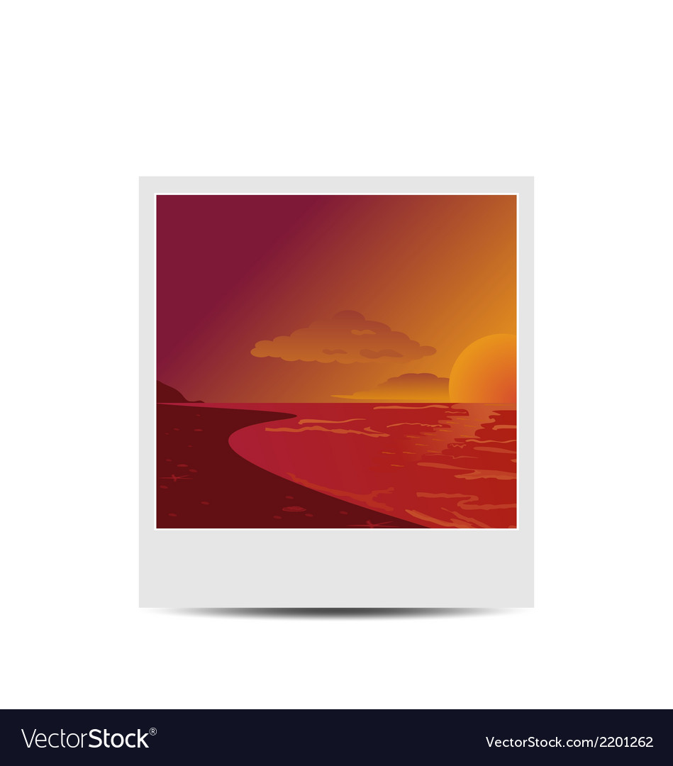 Photoframe with sunset beach background vector | Price: 1 Credit (USD $1)
