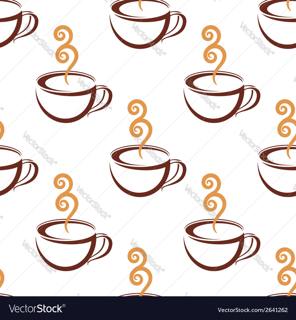 Seamless pattern of steaming cup of coffee vector | Price: 1 Credit (USD $1)
