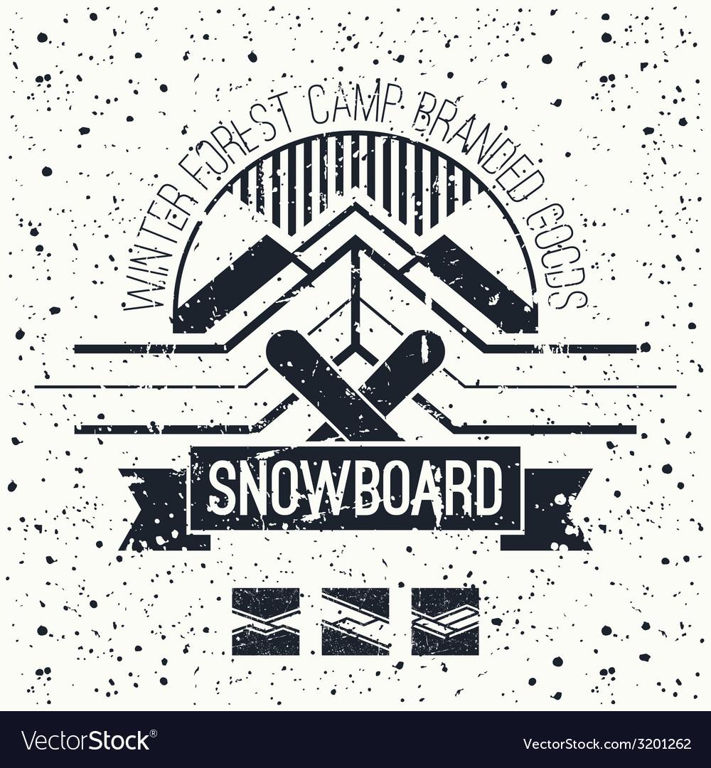 Snowboard retro emblem vector | Price: 1 Credit (USD $1)