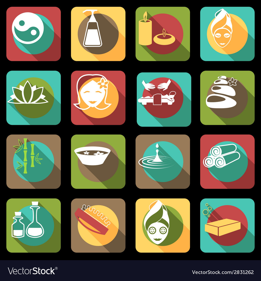 Spa icons flat vector | Price: 1 Credit (USD $1)