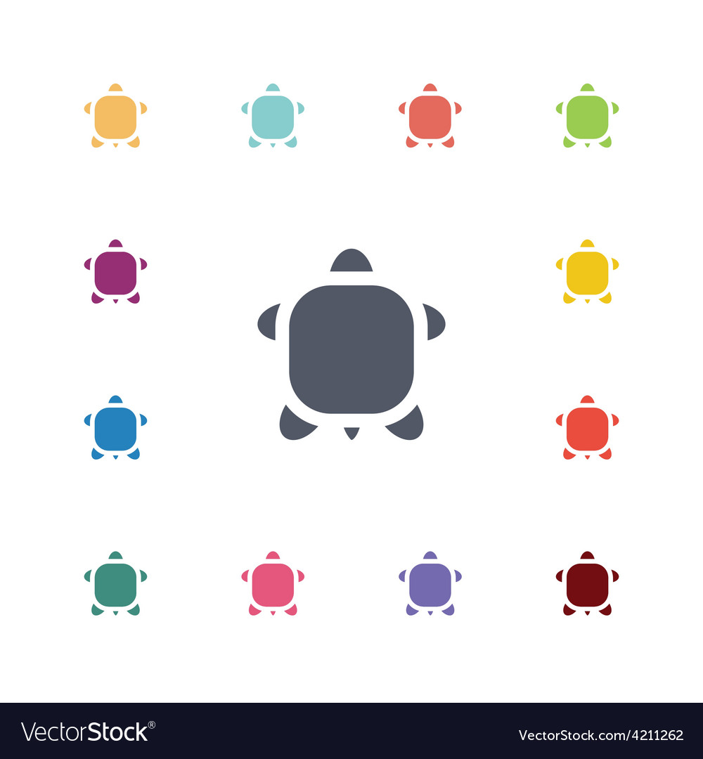 Turtle flat icons set vector | Price: 1 Credit (USD $1)