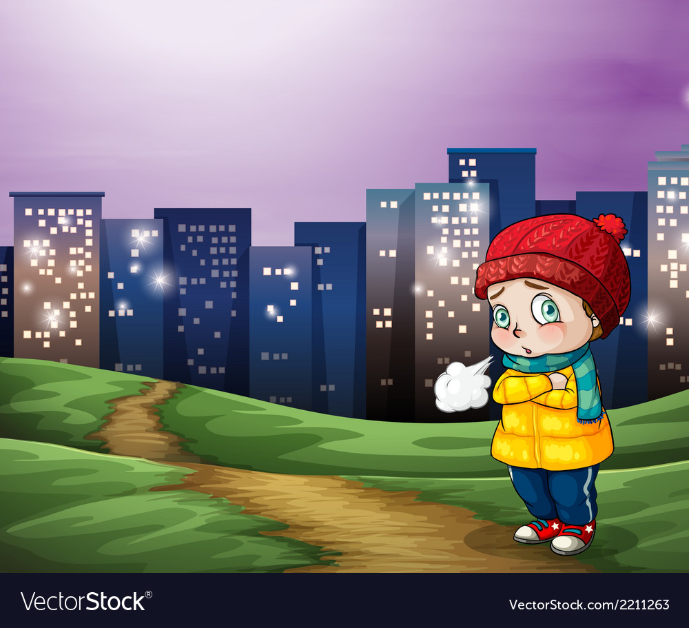 A young child across the tall buildings in the vector | Price: 3 Credit (USD $3)