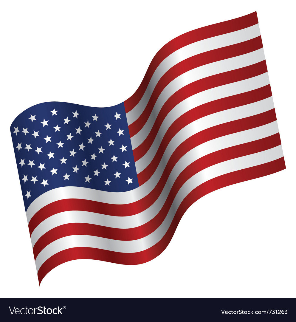 American flag proudly waving vector | Price: 1 Credit (USD $1)