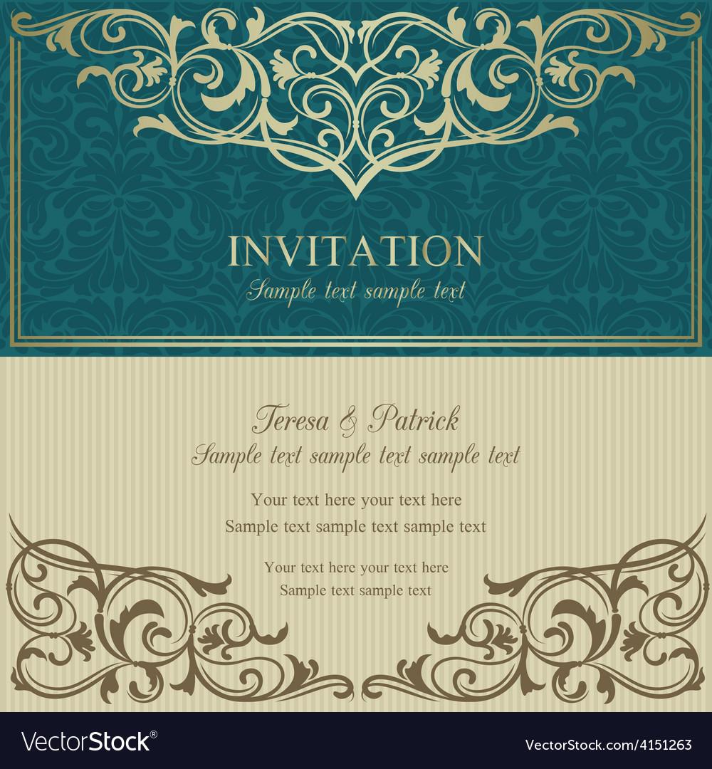 Baroque invitation blue and beige vector   Price: 1 Credit (USD $1)