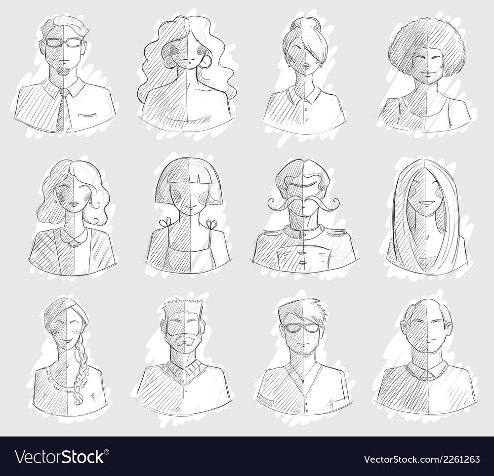 Characters design hand drawn icons faces sketch vector | Price: 1 Credit (USD $1)