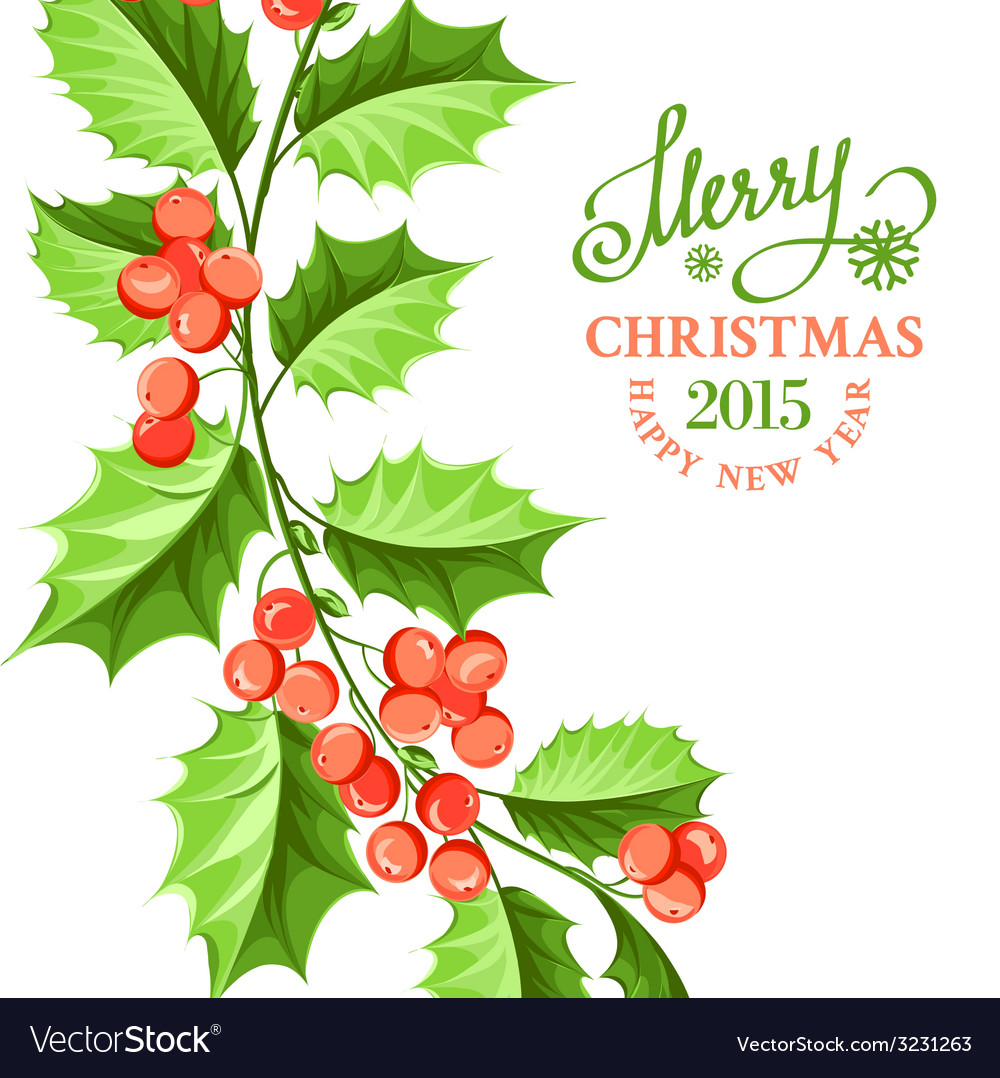 Christmas mistletoe branch drawing vector | Price: 1 Credit (USD $1)