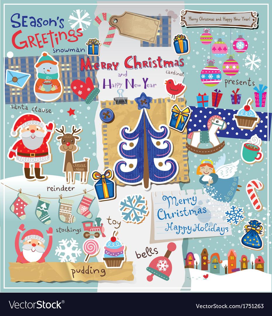 Christmas scrapbook set vector | Price: 3 Credit (USD $3)