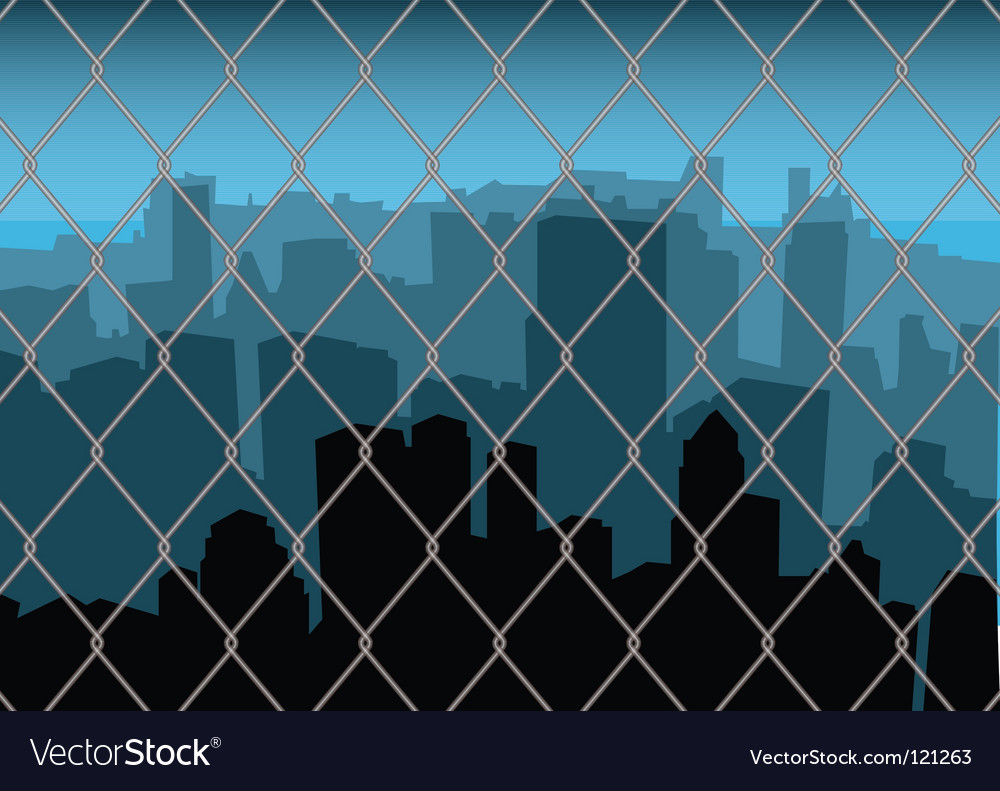City behind fence vector | Price: 1 Credit (USD $1)
