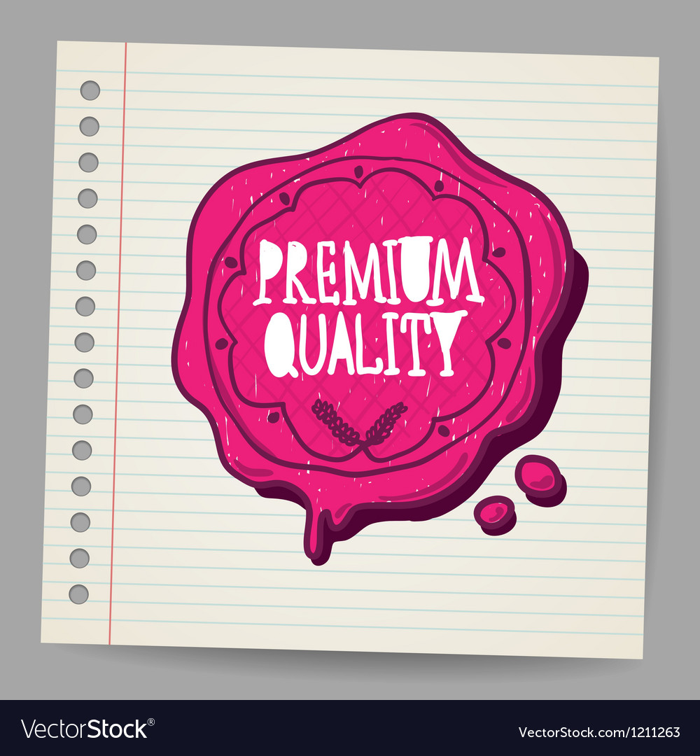 Doodle wax seal with premium quality sign vector | Price: 1 Credit (USD $1)