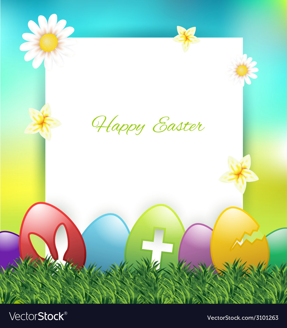 Easter greeting card with colorful eggs on grass vector | Price: 1 Credit (USD $1)