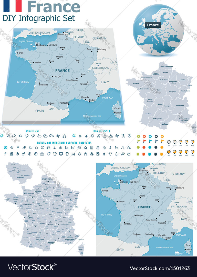 France maps with markers vector | Price: 3 Credit (USD $3)