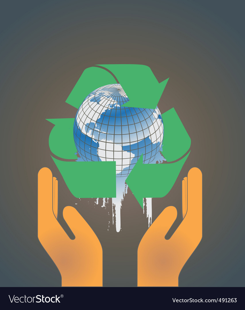 Hand holding earth globe 2 vector | Price: 1 Credit (USD $1)