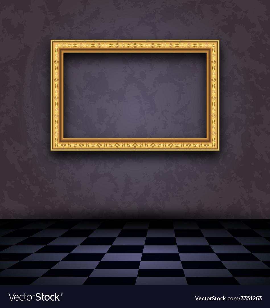 Picture frame in dark empty interior - vector | Price: 1 Credit (USD $1)