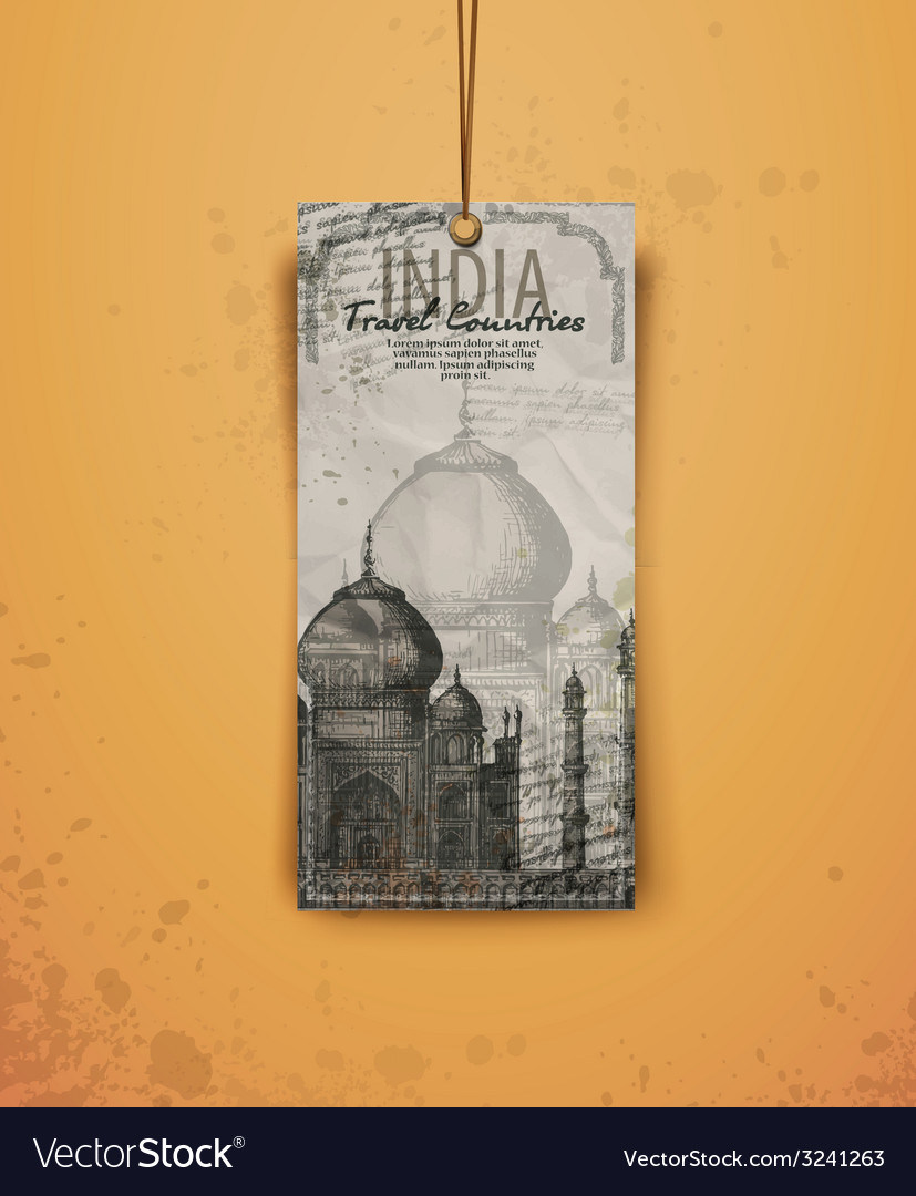 Taj mahal india vintage hand drawn vector | Price: 1 Credit (USD $1)