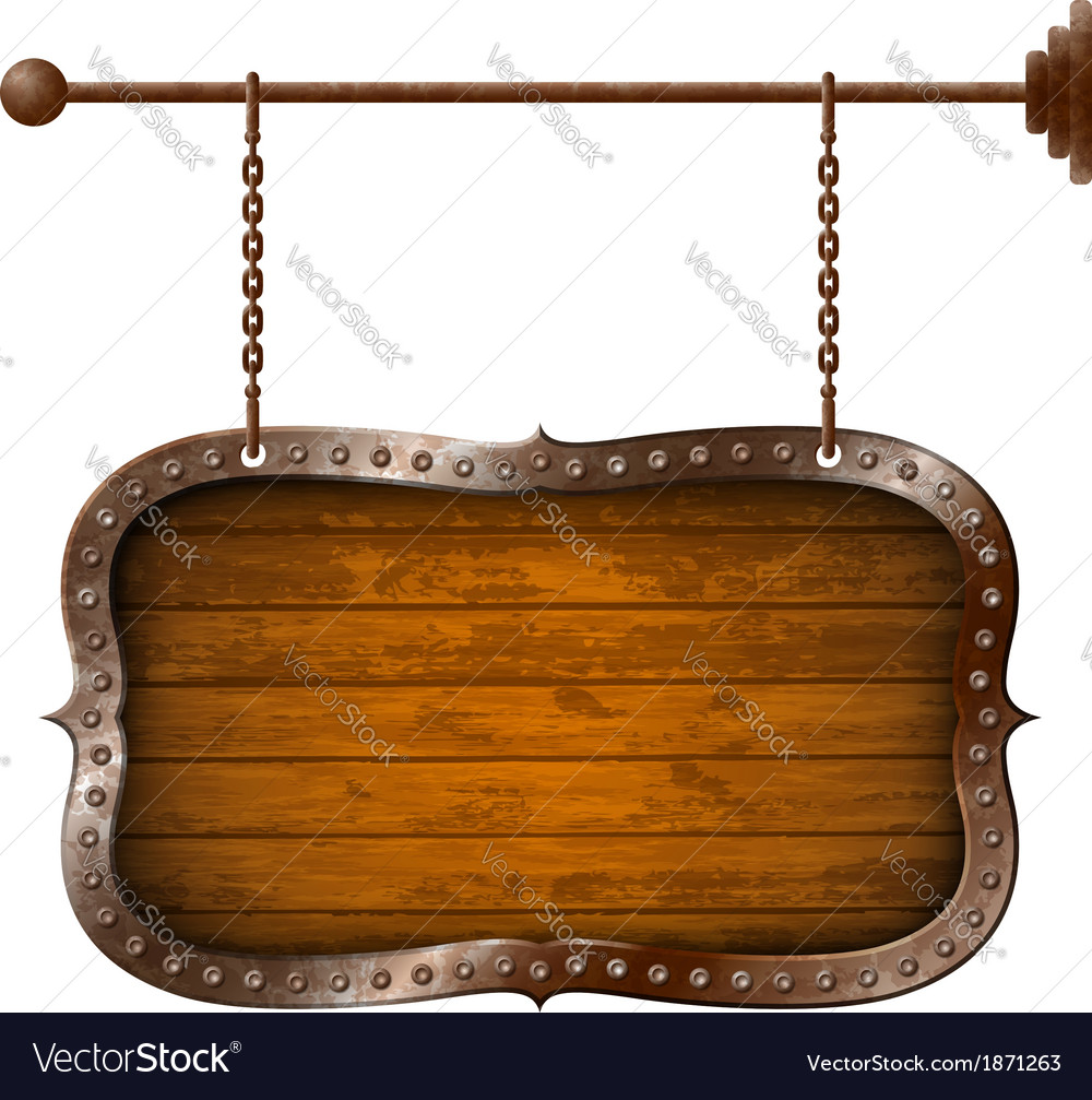 Wooden signboard with metal rim on the chains vector | Price: 1 Credit (USD $1)