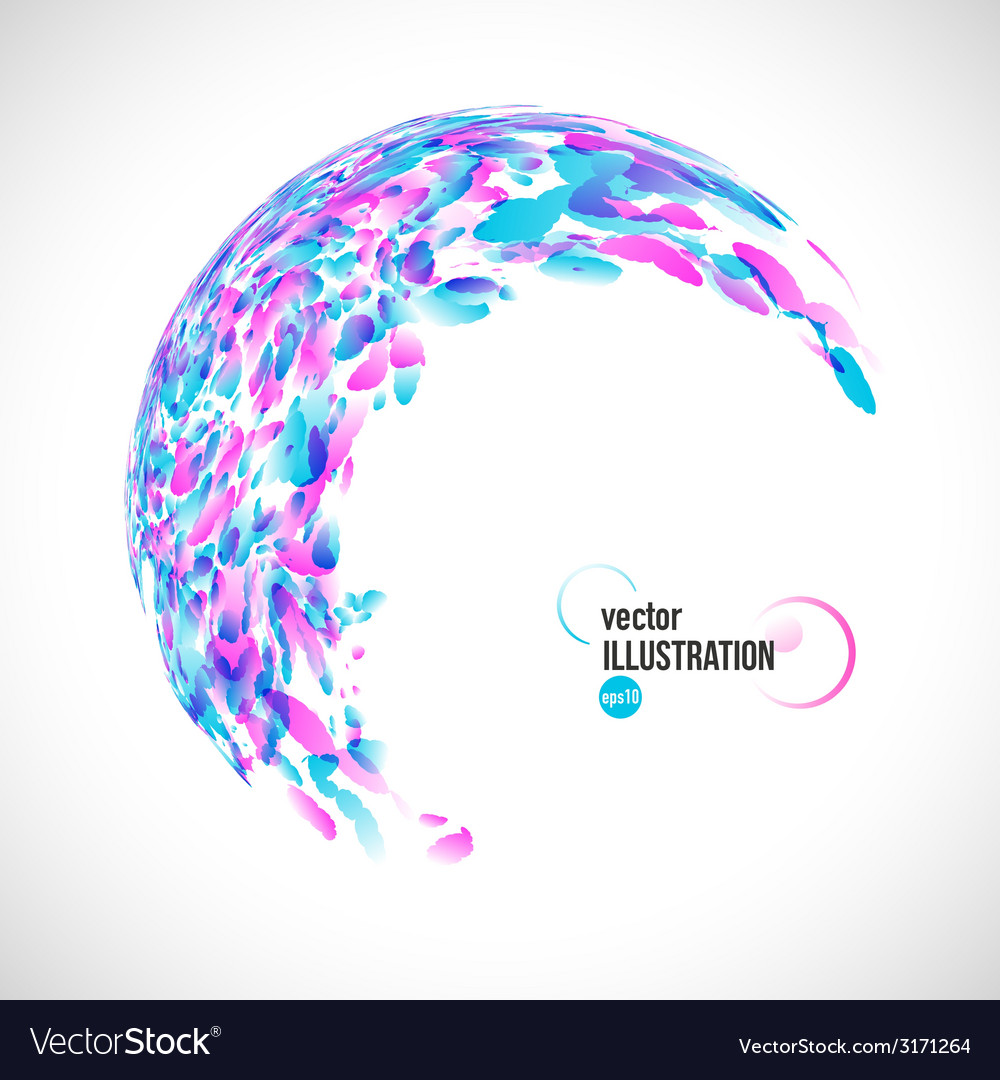 Abstract round frame of blue and pink watercolor vector | Price: 1 Credit (USD $1)