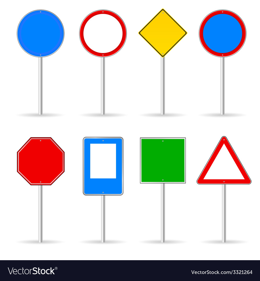 Blank traffic sign set one vector | Price: 1 Credit (USD $1)