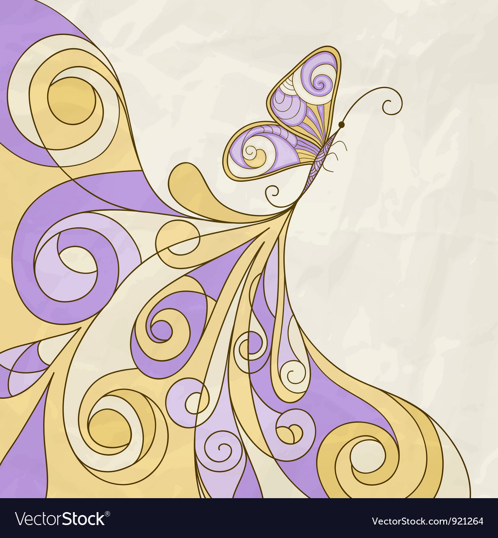 Butterfly and abstract pattern crumpled paper text vector | Price: 1 Credit (USD $1)