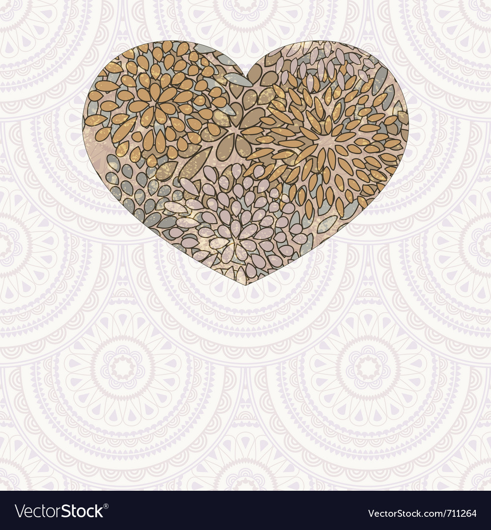 Heart with floral pattern vector | Price: 1 Credit (USD $1)