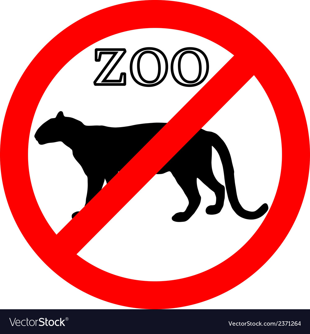 Leopard in zoo prohibited vector | Price: 1 Credit (USD $1)