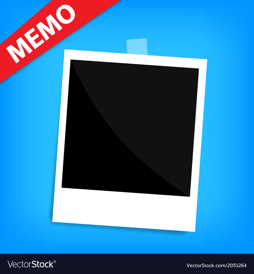 Memo polaroid photo on wall isolated vector | Price: 1 Credit (USD $1)