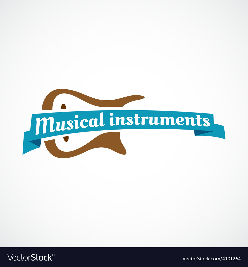 Musical logo guitar silhouette with ribbon and vector | Price: 1 Credit (USD $1)