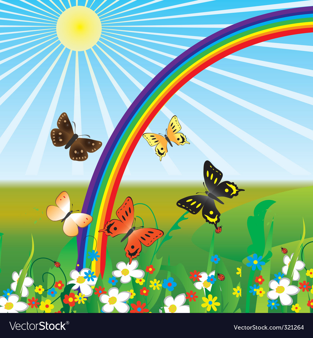 Rainbow and butterflies vector | Price: 1 Credit (USD $1)