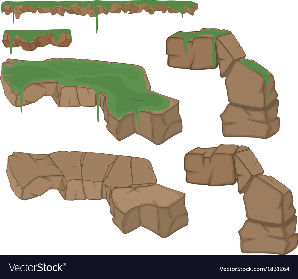 Set of stones with a grass vector | Price: 1 Credit (USD $1)