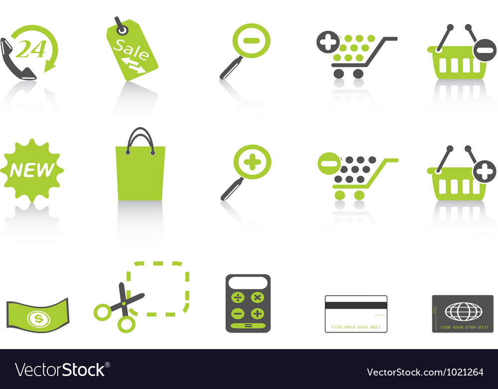 Shopping icon green series vector | Price: 1 Credit (USD $1)