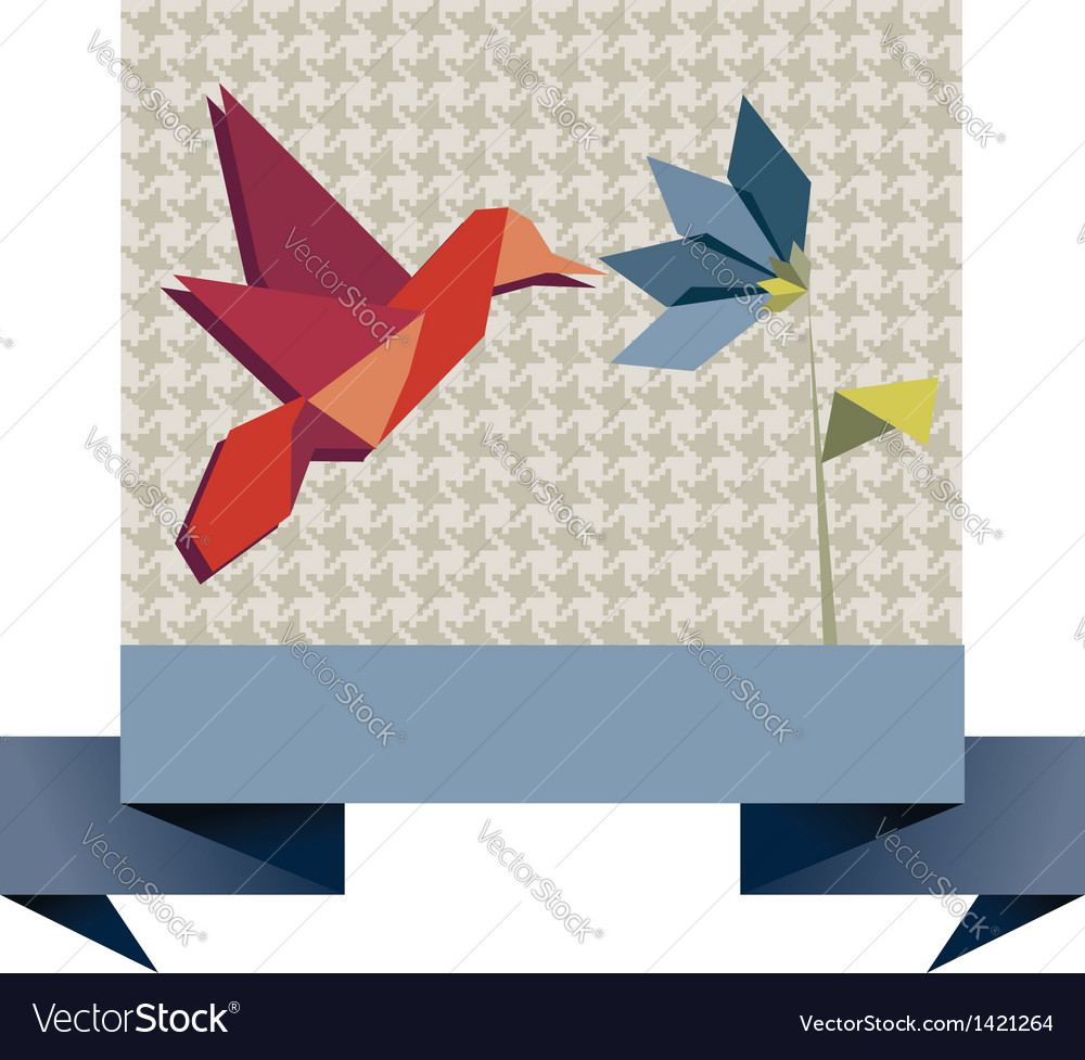 Single origami hummingbird over textile pattern vector | Price: 1 Credit (USD $1)